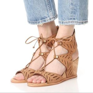 Tan Leather CutOut Lace Up Gladiator Wedge Sandal